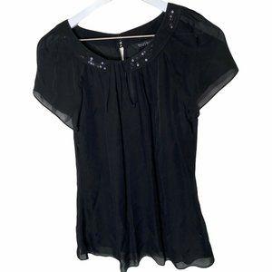 White House Black Market Silk Top Small Black